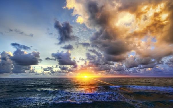 Фото обои волны, пейзаж, закат, природа, океан