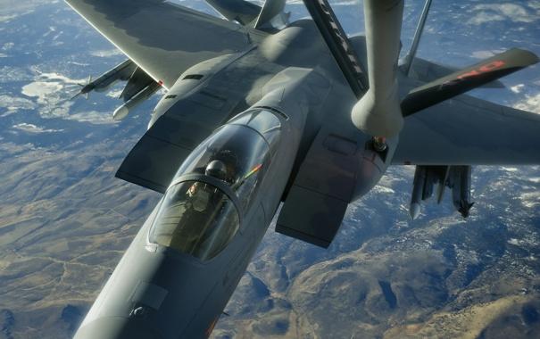 Фото обои полет, истребитель, Eagle, F-15, дозаправка, тактический, «Игл»
