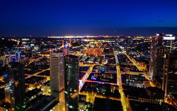 Фото обои ночь, город, огни, здания, дома, небоскребы, Германия