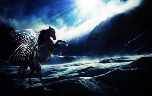 Фото обои солнце, облака, скалы, крылья, Лошадь, красные глаза