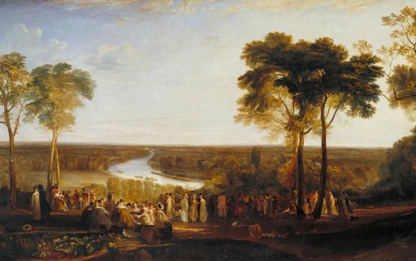 Фото обои деревья, пейзаж, река, люди, картина, Уильям Тёрнер, on the Prince Regent's Birthday