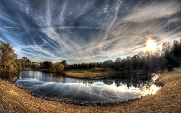 Фото обои небо, озеро, пруд, lake