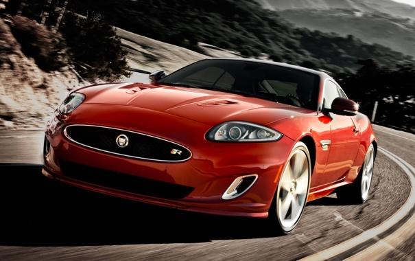 Фото обои дорога, красный, фон, купе, Jaguar, XKR, Ягуар
