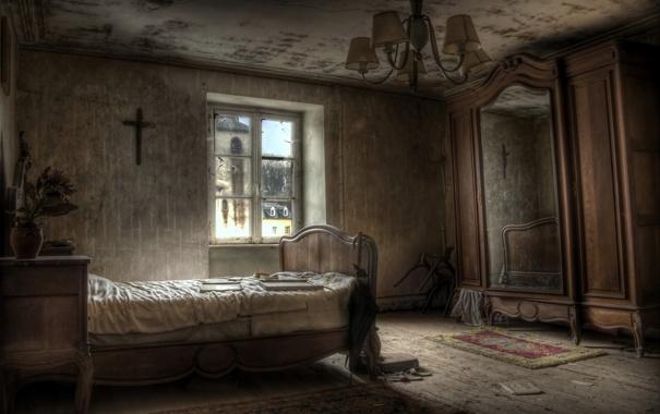 Фото обои кровать, окно, шкаф