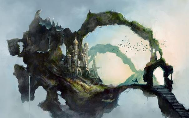 Фото обои дорога, небо, птицы, замок, верблюд, восток, ступеньки
