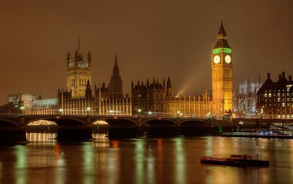 Фото обои река, ночь, башня, огни, Темза, Лондон, Англия