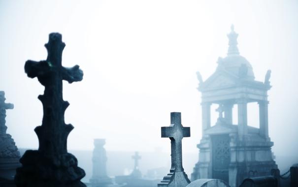 Фото обои кресты, могилы, склеп, Кладбище