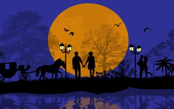 Фото обои деревья, любовь, птицы, ночь, романтика, лошадь, пара