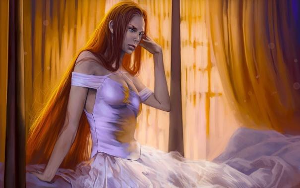 Фото обои девушка, кровать, платье, рыжая, романтика апокалипсиса, romantically apocalyptic, alexiuss