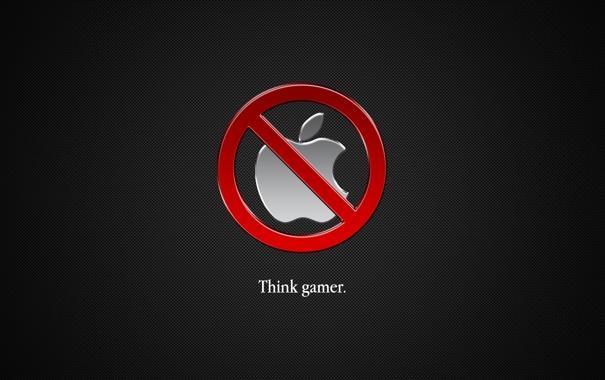 Фото обои apple, think gamer, world apple