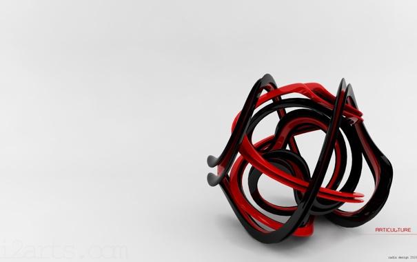 Фото обои красный, клубок, чёрный, Articulture
