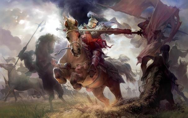 Фото обои three, heroes, kingdoms