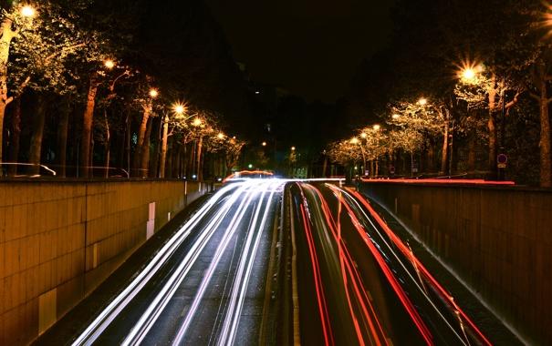 Фото обои ночь, Франция, Париж, красота, выдержка