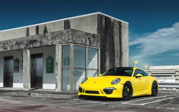 Фото обои Желтый, Porsche, Порше, GT3