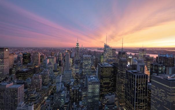 Фото обои город, рассвет, небоскребы, мегаполис, New York, Midtown, USА