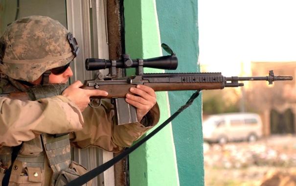 Фото обои оружие, фон, солдат