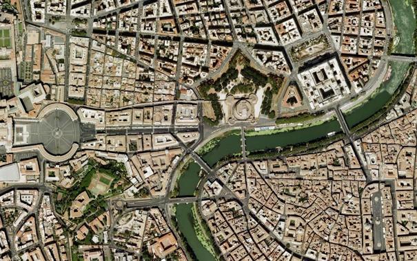 Фото обои Рим, Ватикан, Собор Святого Петра, Vatican, Roma, спутниковая карта, satellite map