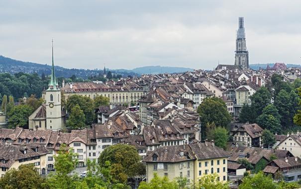 Фото обои здания, Швейцария, панорама, Switzerland, Берн, Bern