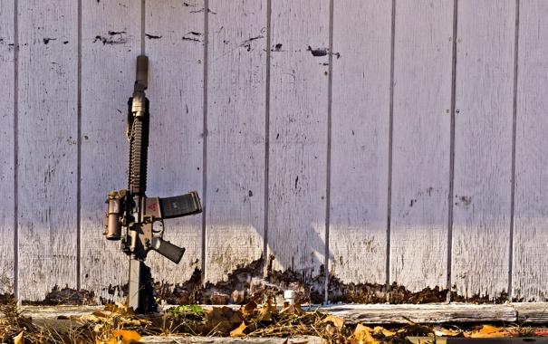 Фото обои gun, wall, m4a1, scope, M4A1 SOPMOD Block II