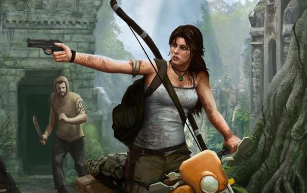 Фото обои девушка, мужик, мотоцикл, Tomb Raider, бандит, крофт, лара