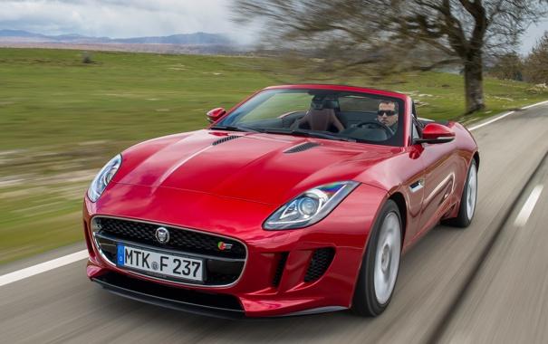 Фото обои машина, скорость, Jaguar, передок, F-Type