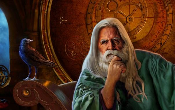 Фото обои кресло, арт, маг, старик, борода, ученый, Myrddin