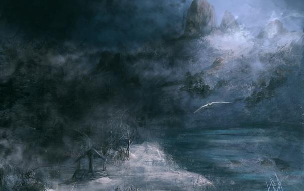 Фото обои зима, снег, полет, горы, река, птица, арт