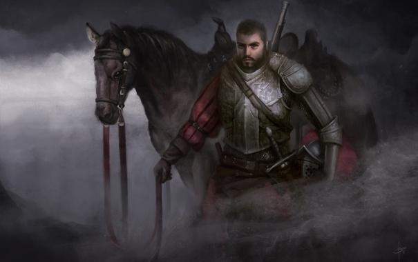 Фото обои туман, конь, меч, арт, мужчина, доспех, Bram Sels