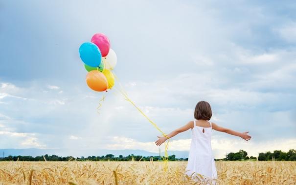 Фото обои поле, настроение, шары, девочка