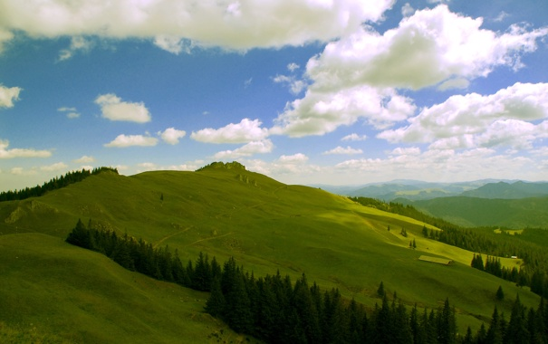 Фото обои небо, облака, горы, холмы