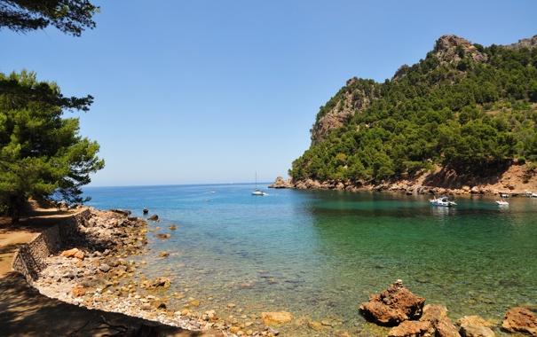 Фото обои море, горы, Испания, Spain, деревья., Mallorca, Islas