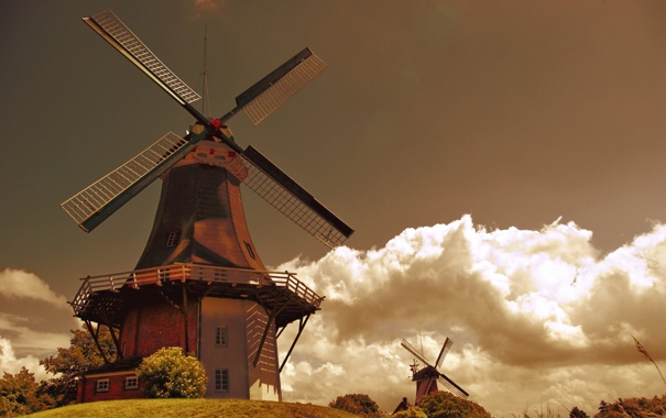 Фото обои облака, мельницы, голландия