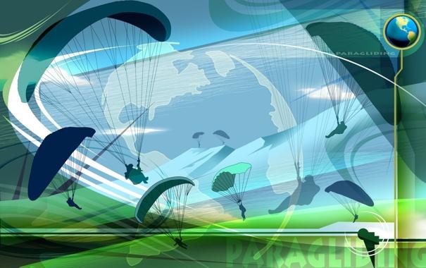 Фото обои полет, коллаж, обои, вектор, силуэт, парашют, Paragliding