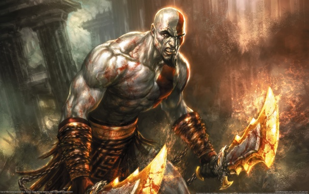 Фото обои кратос, god of war, клинки
