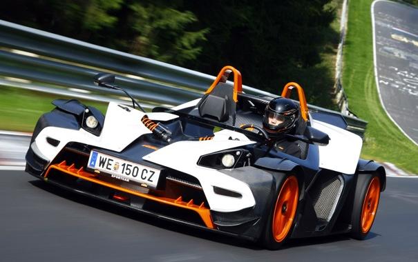 Фото обои трасса, пилот, KTM, тест, X-Bow, Nurburgring
