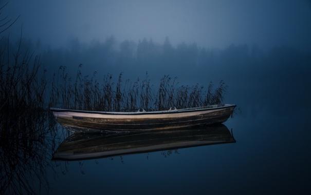 Фото обои ночь, озеро, лодка