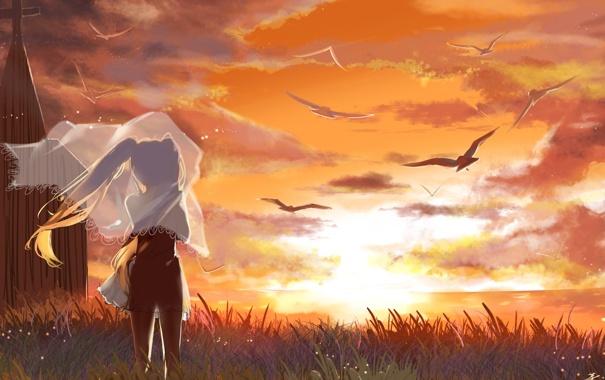 Фото обои море, девушка, закат, птицы, vocaloid, hatsune miku, вокалоид