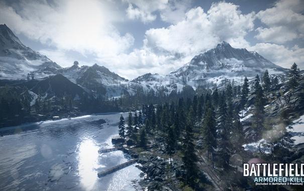Фото обои лес, горы, озеро, Battlefield 3, premium, armored kill