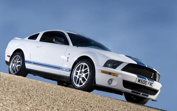 Фото обои дорога, Mustang, GT500, дверь, колеса, кобра