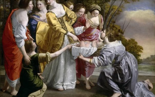 Фото обои картина, религия, мифология, Орацио Джентилески, Нахождение Моисея