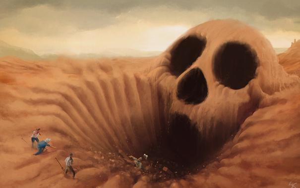 Фото обои песок, люди, череп, арт