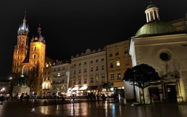 Фото обои огни, люди, вечер, Польша, Краков, церковь Святого Адальберта, Мариацкий костел