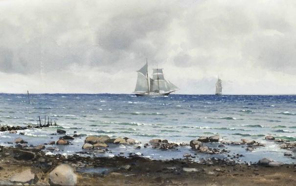Фото обои море, волны, пейзаж, камни, берег, побережье, корабли