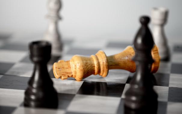Фото обои макро, шахматы, фигуры