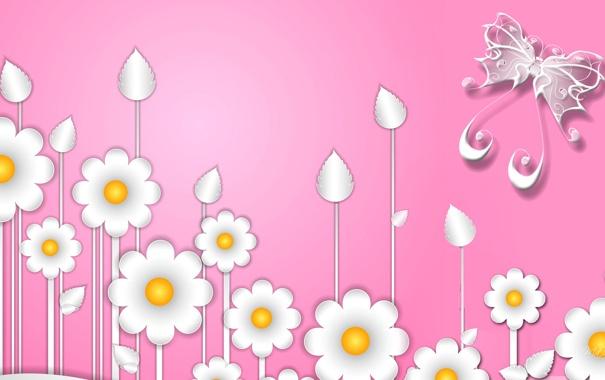 Фото обои цветы, фантастика, бабочка, ромашки, вектор