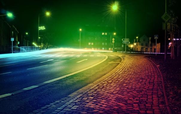 Фото обои эфект, фото, Город, City, ночь, улица