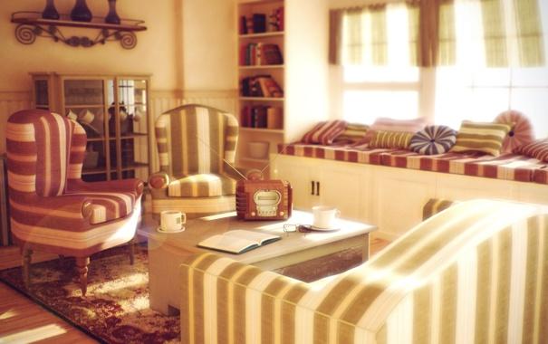 Фото обои дизайн, стиль, комната, мебель, книги, радио, интерьер