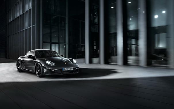 Фото обои черный, порше, в движении, Black Edition, Porsche Cayman, кайман