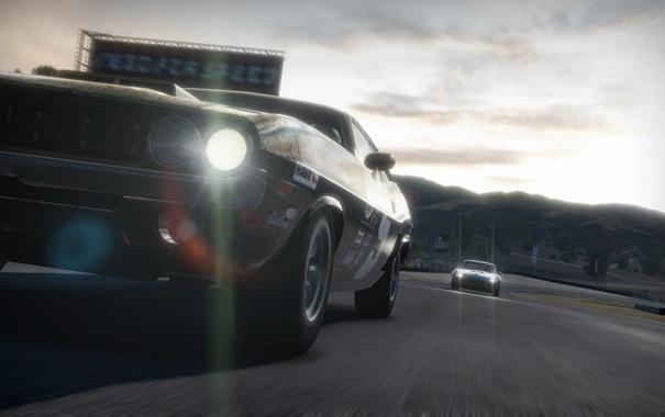 Фото обои гонка, трек, Dodge Challenger, need for speed shift