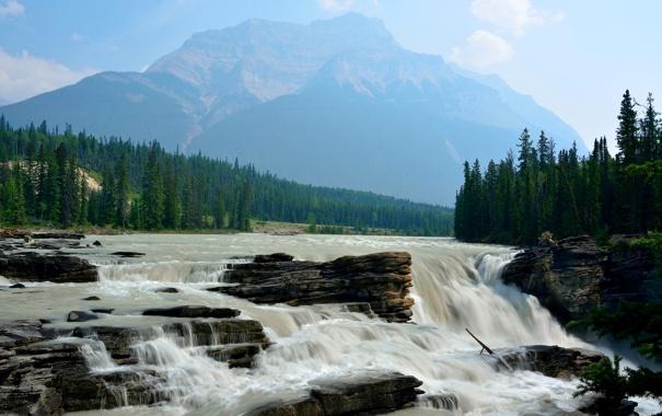 Фото обои река, скалы, гора, водопад, Канада, Альберта, Jasper